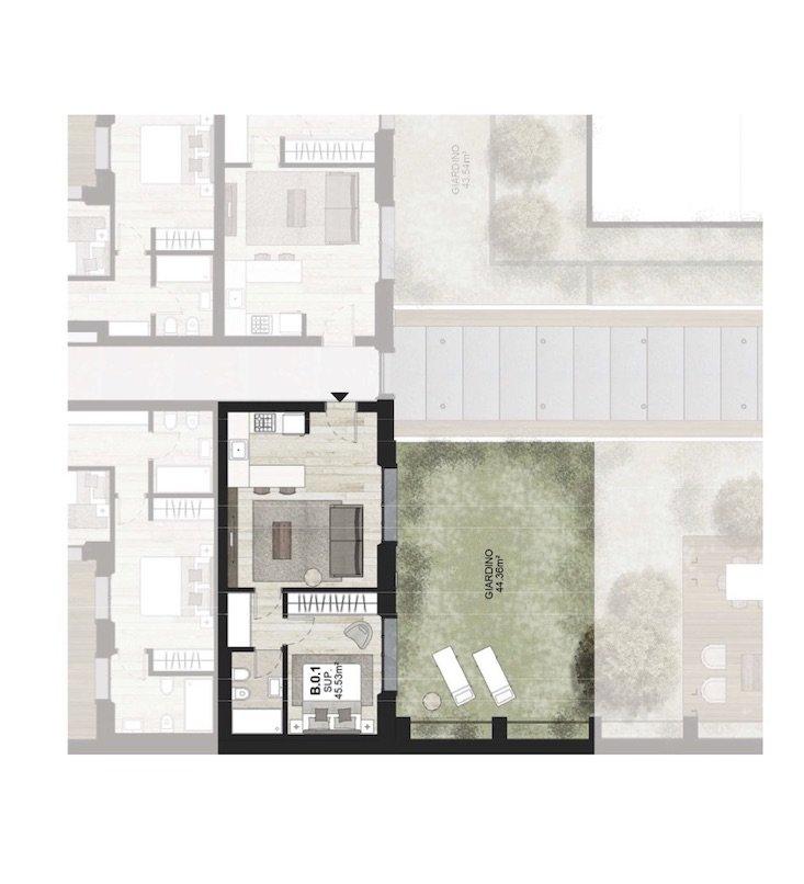 B0.1 Appartamento con giardino Porta Romana Milano - Vasari 3